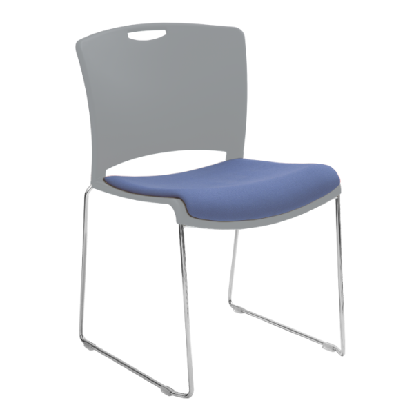 Jasper Stacking Chair with Upholstered Seat Light Grey Savin Tweed