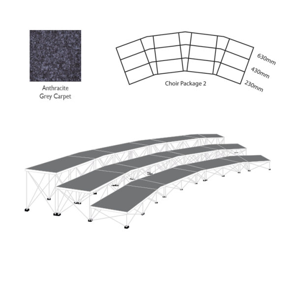 Ultralight Choir Stage Package 2 Anthracite Grey Carpet