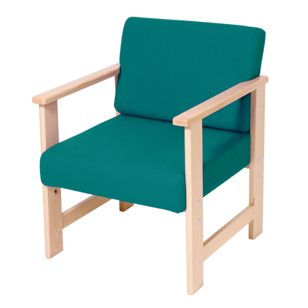 Wooden Low Easy Armchair Turquoise AD027