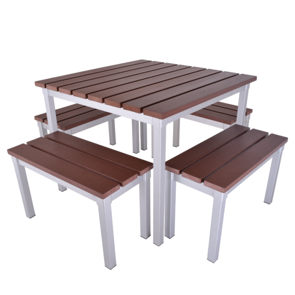 Enviro Outdoor Table Set 900 x 900 x 710mm High With 700mm Bench