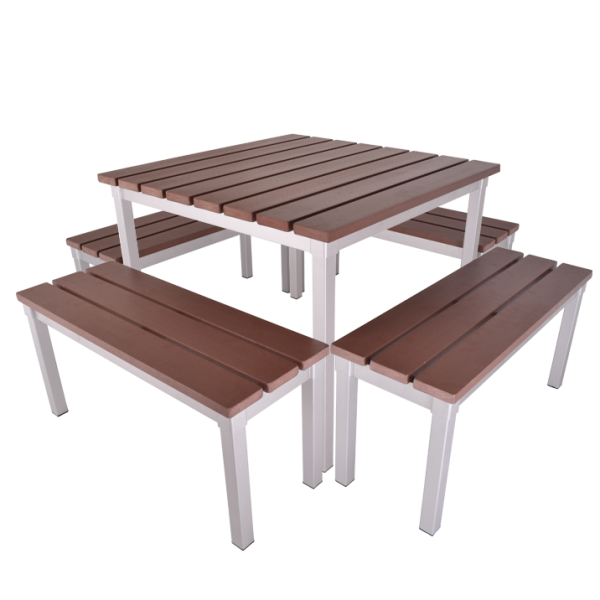 Enviro Outdoor Table Set 900 x 900 x 710mm High with 900mm Bench