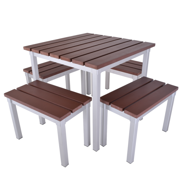 Enviro Outdoor Table Set 790 x 790 x 710mm High With 590mm Bench